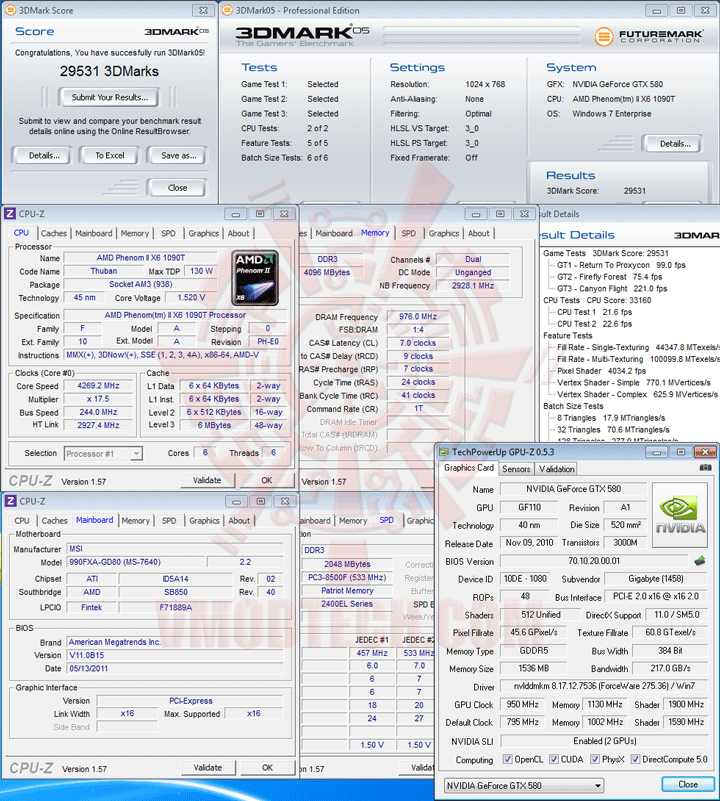 05 msi 990FXA GD80 AMD 990FX Motherboard Overclock Results
