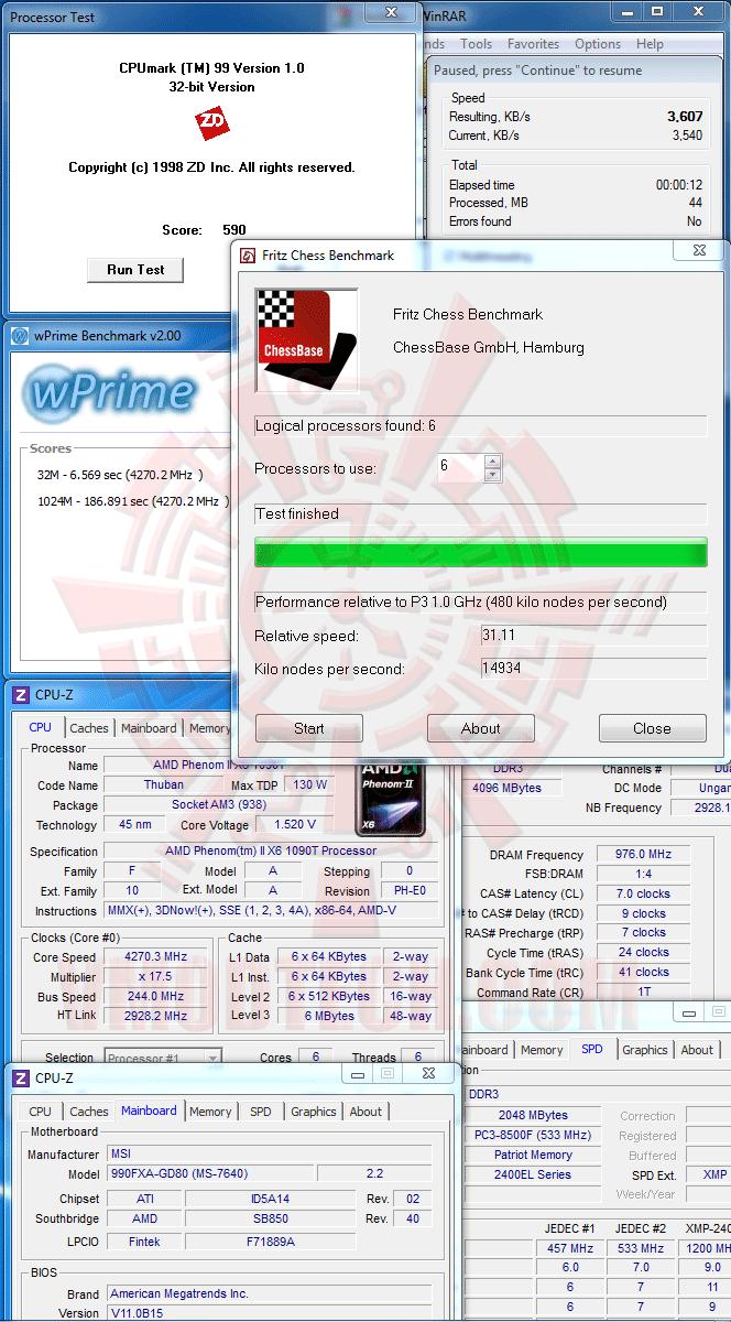 v msi 990FXA GD80 AMD 990FX Motherboard Overclock Results
