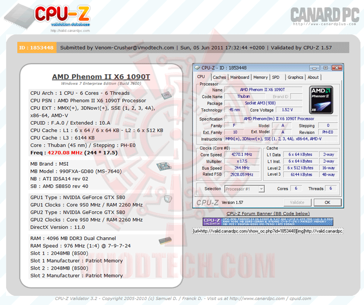 validate msi 990FXA GD80 AMD 990FX Motherboard Overclock Results