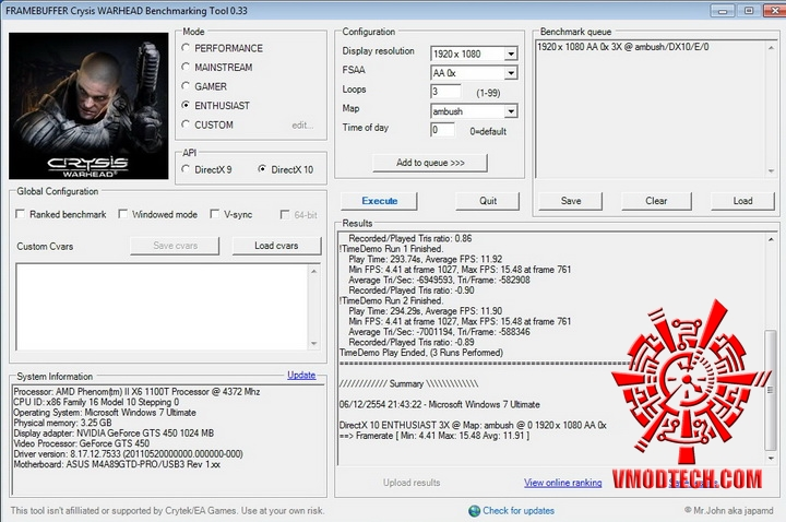 crysis PaLiT Geforce GTS 450 1GB GDDR3 Review