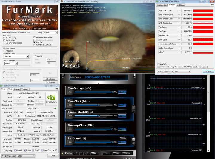 furmark 950 PaLiT Geforce GTS 450 1GB GDDR3 Review