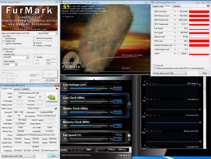 furmark PaLiT Geforce GTS 450 1GB GDDR3 Review