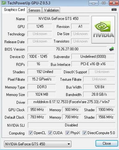gpuz 950 PaLiT Geforce GTS 450 1GB GDDR3 Review