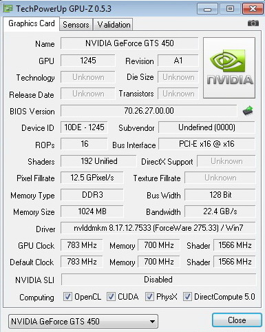 gpuz PaLiT Geforce GTS 450 1GB GDDR3 Review