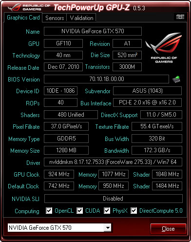 gpuz oc ASUS GeFORCE GTX570 DirectCUII