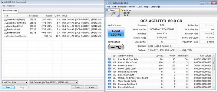 aida64 disk OCZ AGILITY3 SSD 60GB SATA III Review