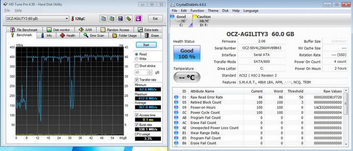 hdtune 45 a OCZ AGILITY3 SSD 60GB SATA III Review