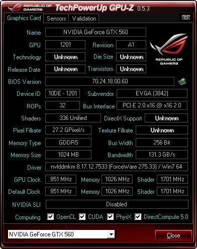 cpuz EVGA GeForce GTX560 Superclocked