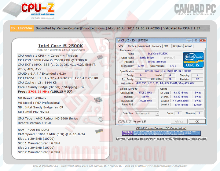 6560 1 intel Core i5 2500K with H2O Challenge SuperPI 1M Thailand Record