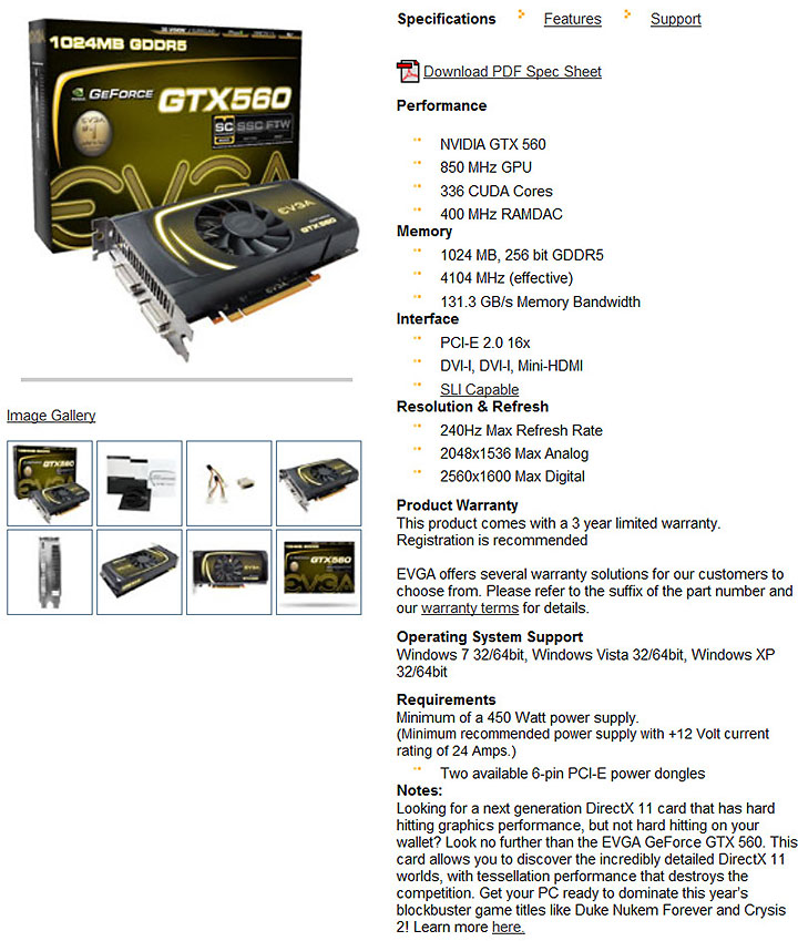 spec1 EVGA GeForce GTX560 Superclocked