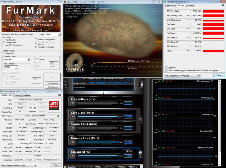 furmark 950 ASUS Radeon HD 6670 1GB GDDR5 Review
