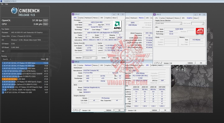 cinebench r11 gpu AMD Liano A8 3850APU on ASUS F1A75 M PRO Review