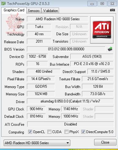 gpuz900 ASUS Radeon HD 6670 1GB GDDR5 Review