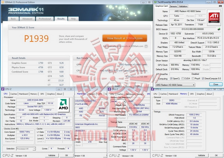 11 50 AMD Liano A8 3850APU on ASUS F1A75 M PRO Review