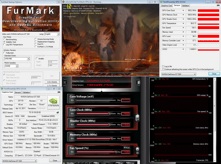 furmark 950 PaLiT Geforce GT 520 1024MB DDR3 Review