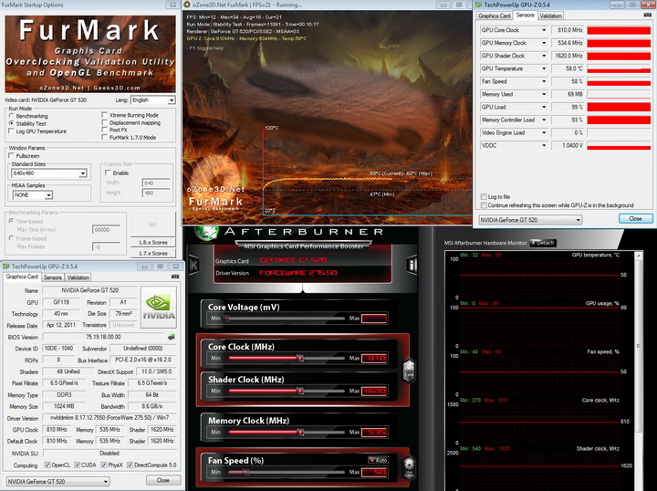 furmark PaLiT Geforce GT 520 1024MB DDR3 Review