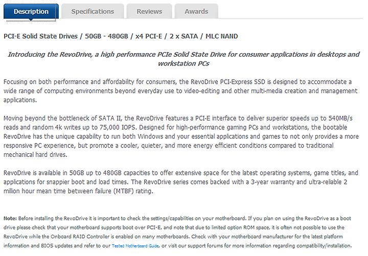 desc OCZ RevoDrive 120GB