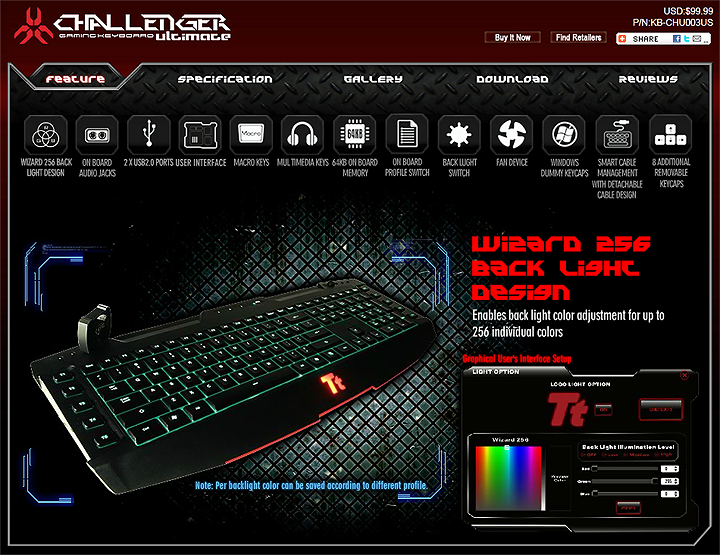 spec1 Tt eSPORTS Challenger Ultimate Gaming Keyboard