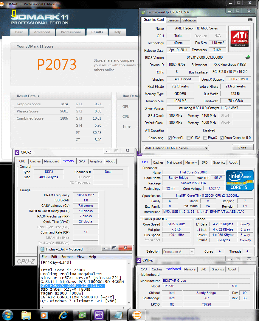 900 1100 3dmark11 p2073 XFX Radeon HD6670 1GB GDDR5 : Review