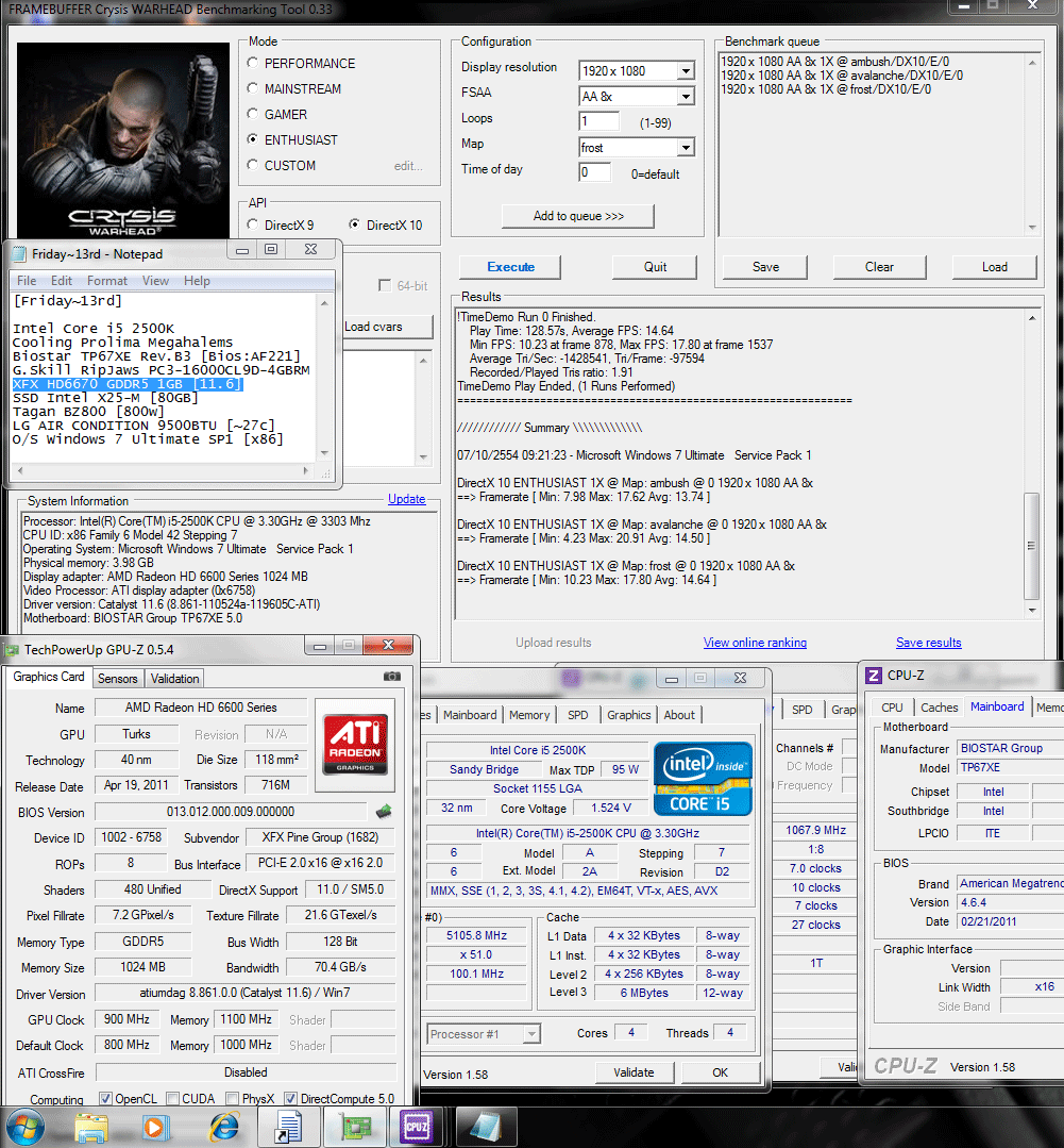 900 1100 dx10 crysiswh 13 14 14 XFX Radeon HD6670 1GB GDDR5 : Review