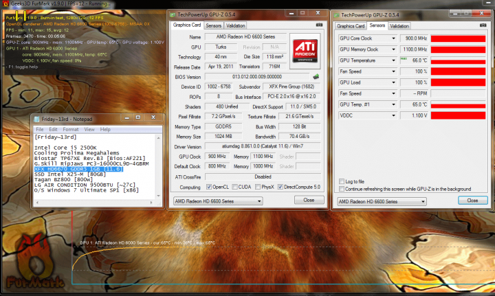 900 1100 temp 36c 65c 720x431 XFX Radeon HD6670 1GB GDDR5 : Review