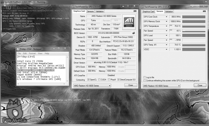 default temp 39c 75c 720x434 XFX Radeon HD6670 1GB GDDR5 : Review