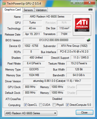 info default gpuz 01 XFX Radeon HD6670 1GB GDDR5 : Review