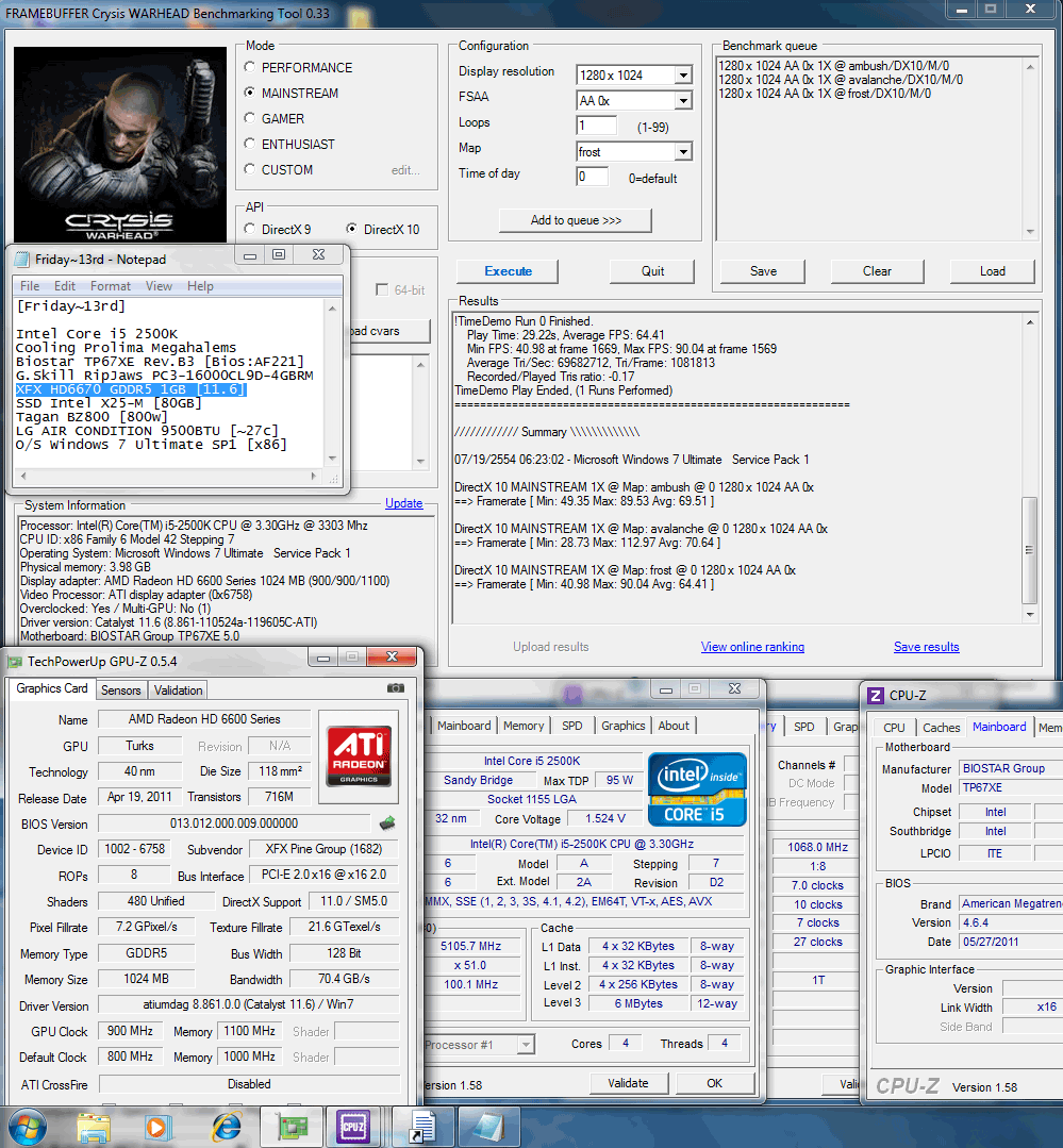 1280x1024 dx10 crysiswh 69 70 64 XFX Radeon HD6670 1GB GDDR5 : Review