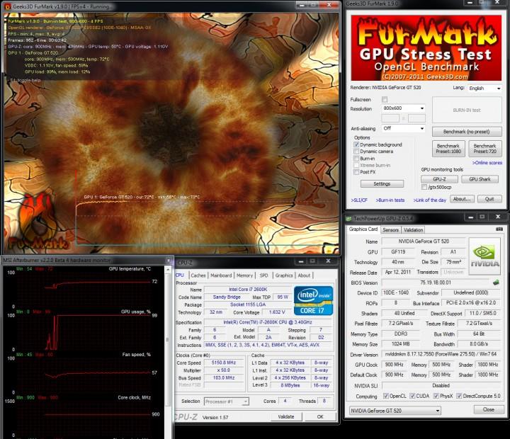 furmark 720x620 SPARKLE GT520 Calibre Nvidia GT520