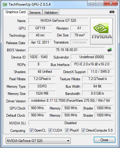 gpuz SPARKLE GT520 Calibre Nvidia GT520