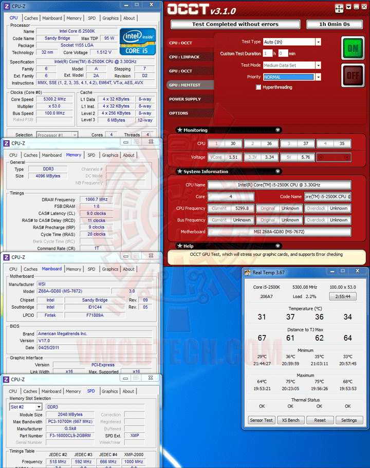 occt MSI Z68A GD80 B3 : Master of Performance & Stabilities