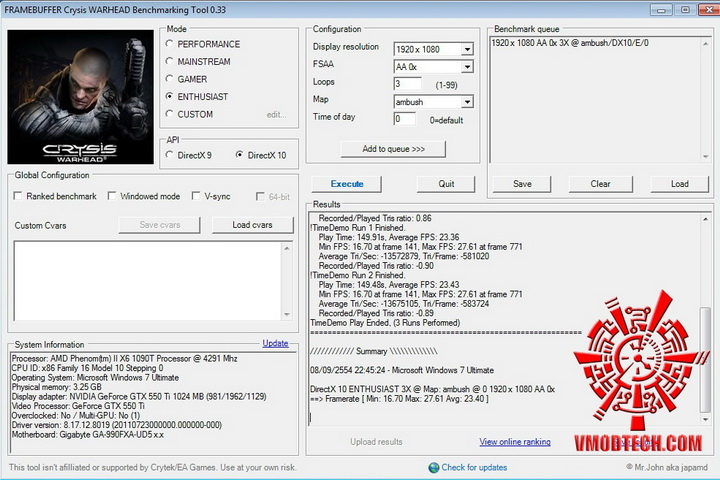 crysis EVGA GeForce GTX 550Ti SC 1024MB GDDR5 Review