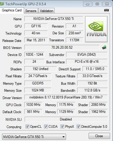 gpuz 1030 EVGA GeForce GTX 550Ti SC 1024MB GDDR5 Review