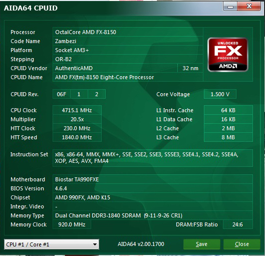 aidacpuid BIOSTAR TA990FXE Extreme Edition Motherboard Review