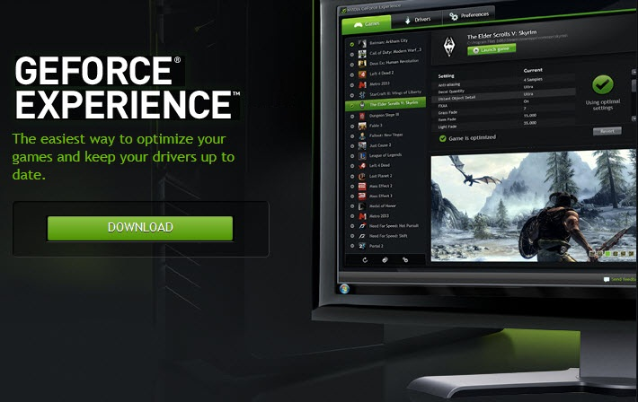 a NVIDIA GeForce EXPERIENCE
