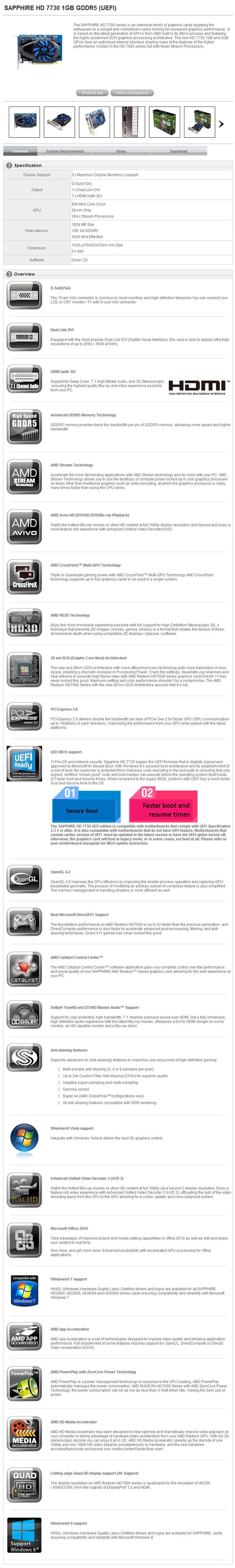 spec SAPPHIRE HD 7730 1GB GDDR5