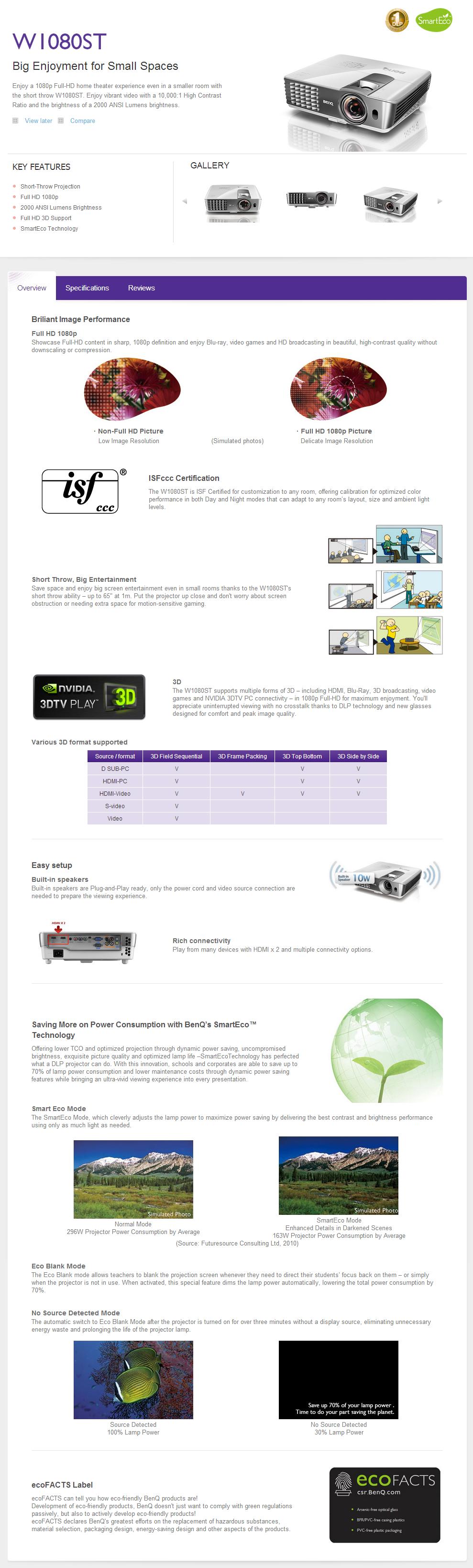 intro 01 BENQ Projectors W1080ST Review