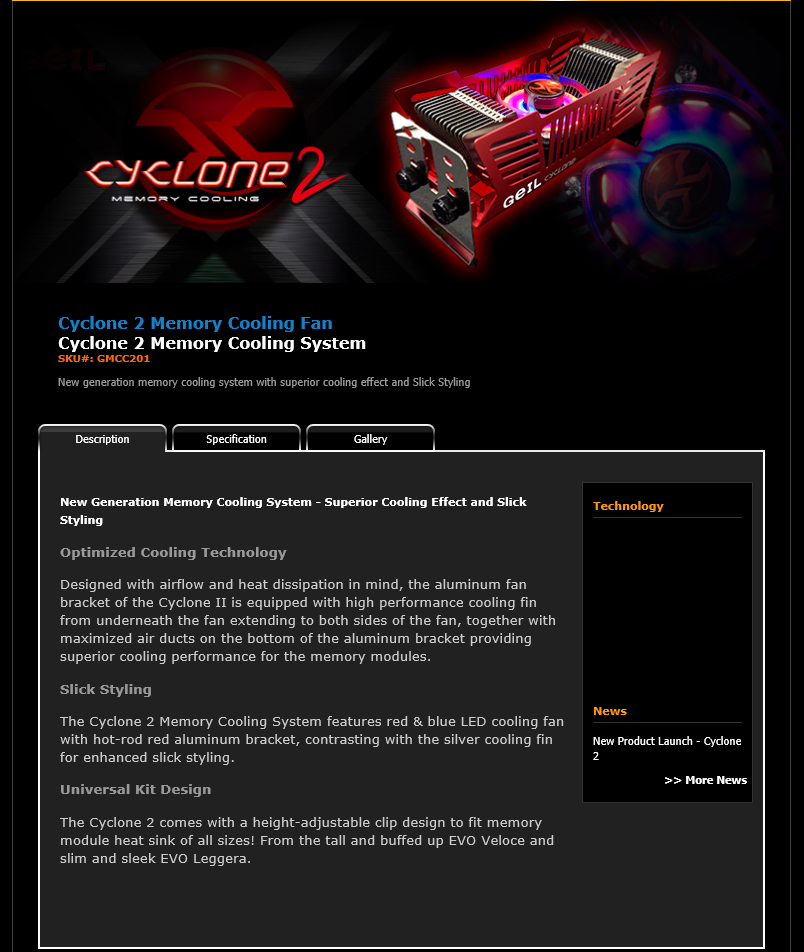 spec GEIL Cyclone 2 Memory Cooling System