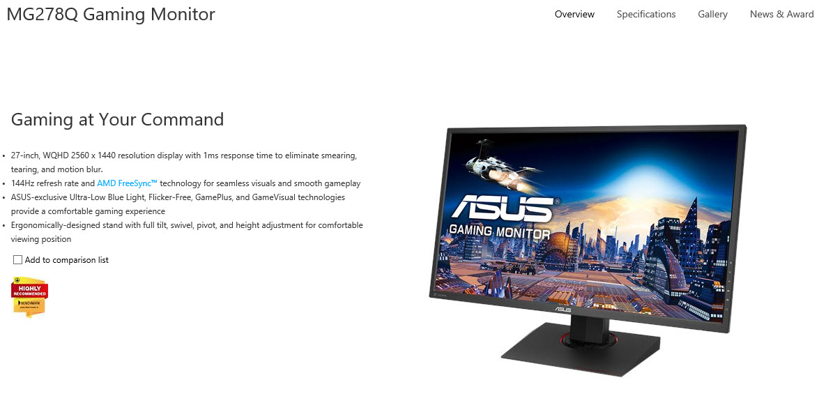 spec0 ASUS MG278Q 27 inch WQHD GAMING Monitor Review