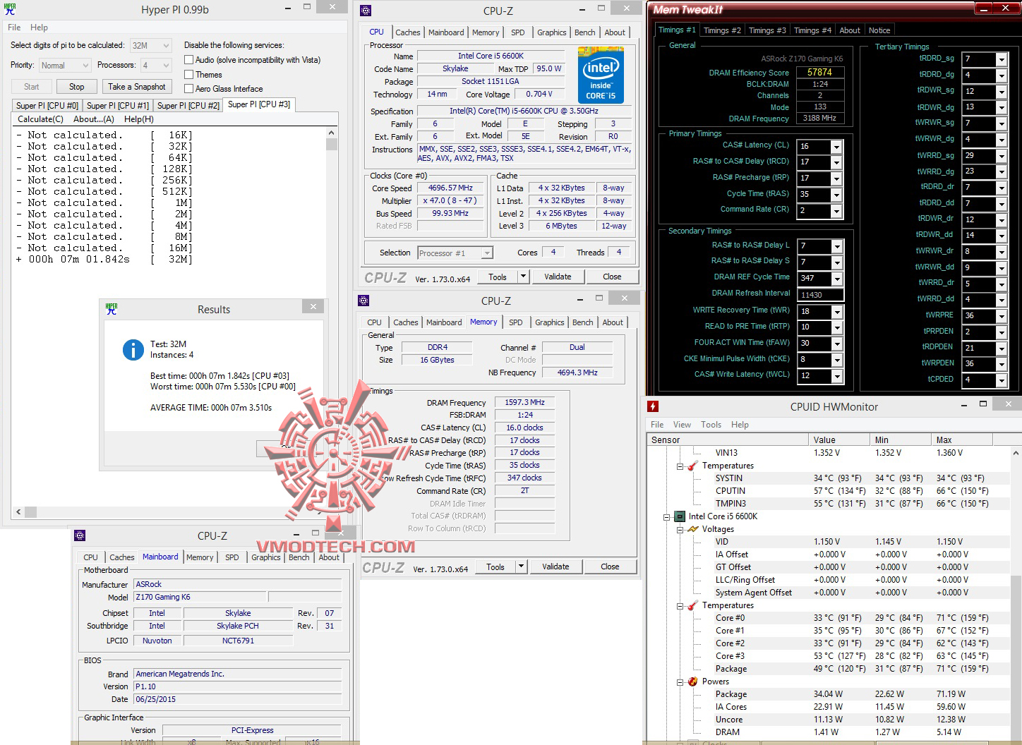 hyperpi32 all oc ASRock Fatal1ty Z170 Gaming K6