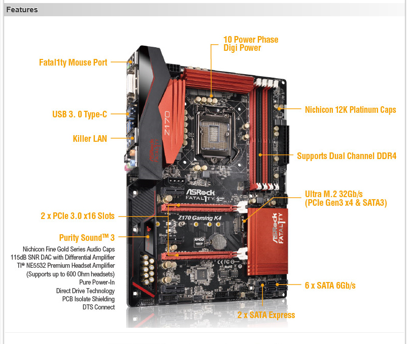 spec ASRock Fatal1ty Z170 Gaming K4