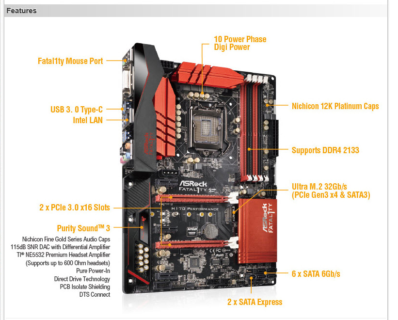 spec ASRock Fatal1ty H170 Performance