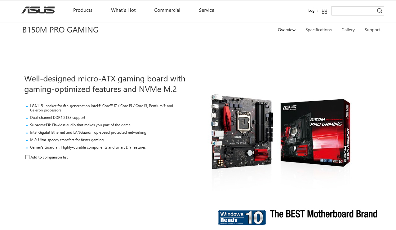 spec ASUS B150M PRO GAMING REVIEW