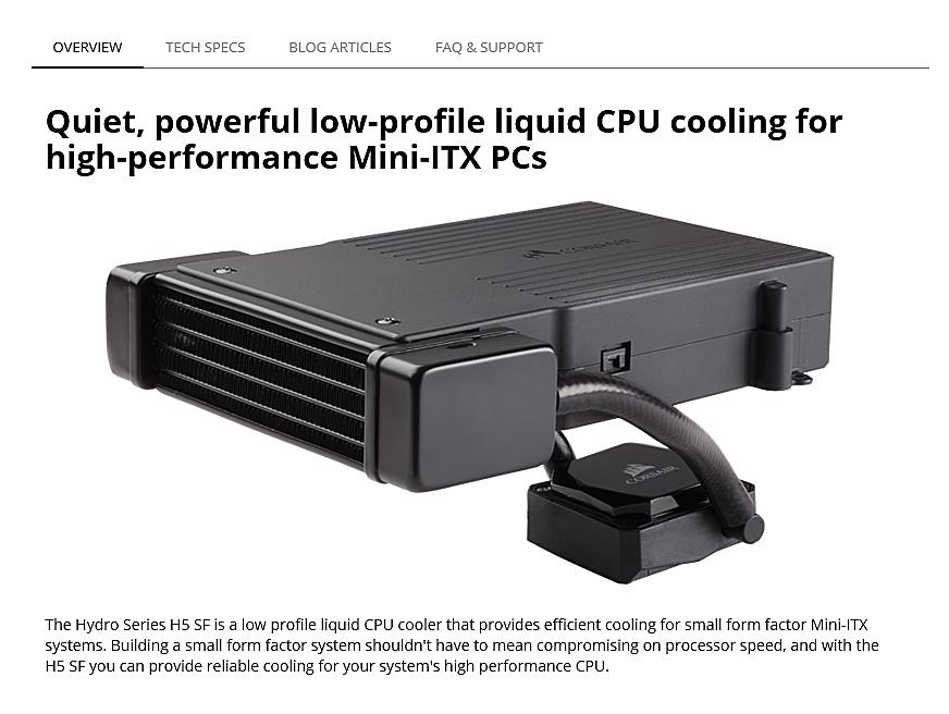 sperc Corsair Hydro Series H5 SF Low Profile Liquid CPU Cooler Review