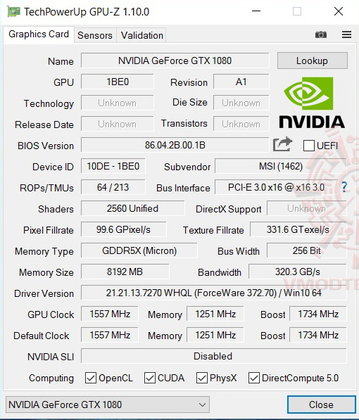 gpuz MSI GT73VR 6RF Titan Pro Review