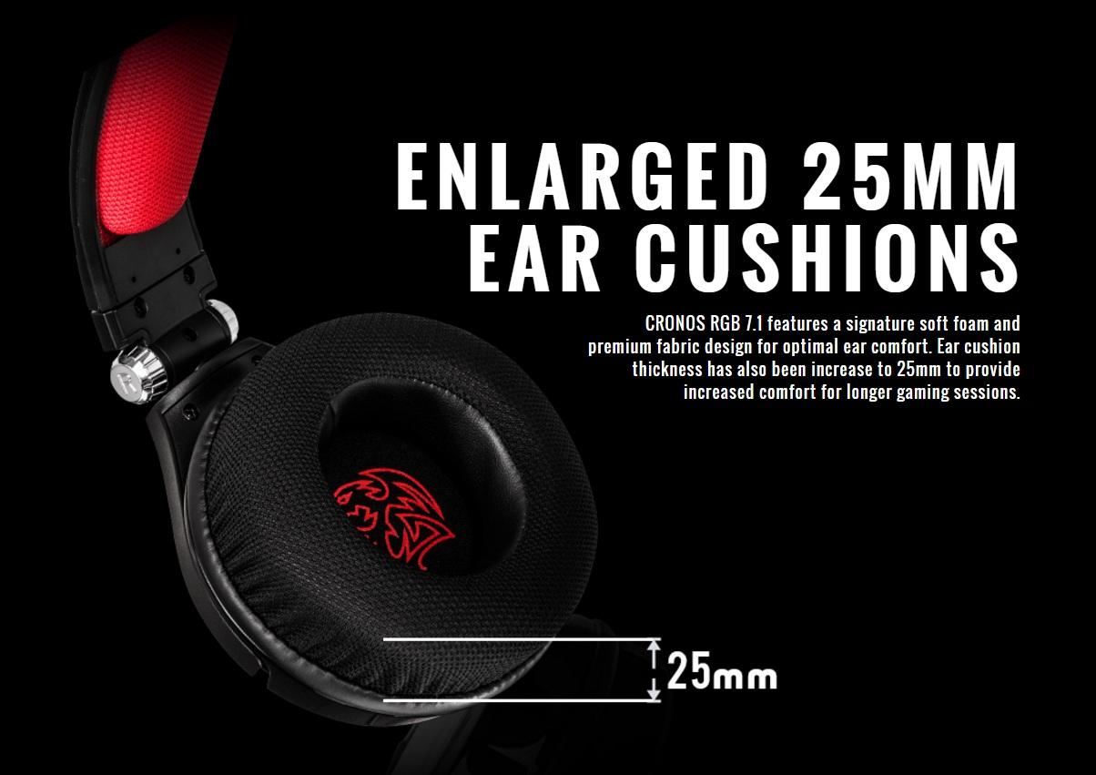 earcup Thermaltake เปิดตัว Tt eSPORTS CRONOS 7.1 RGB หูฟังเกมส์มิ่งตัวใหม่ล่าสุด
