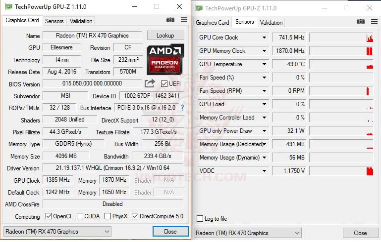 gpuz oc MSI Radeon RX 470 GAMING X 4G Review