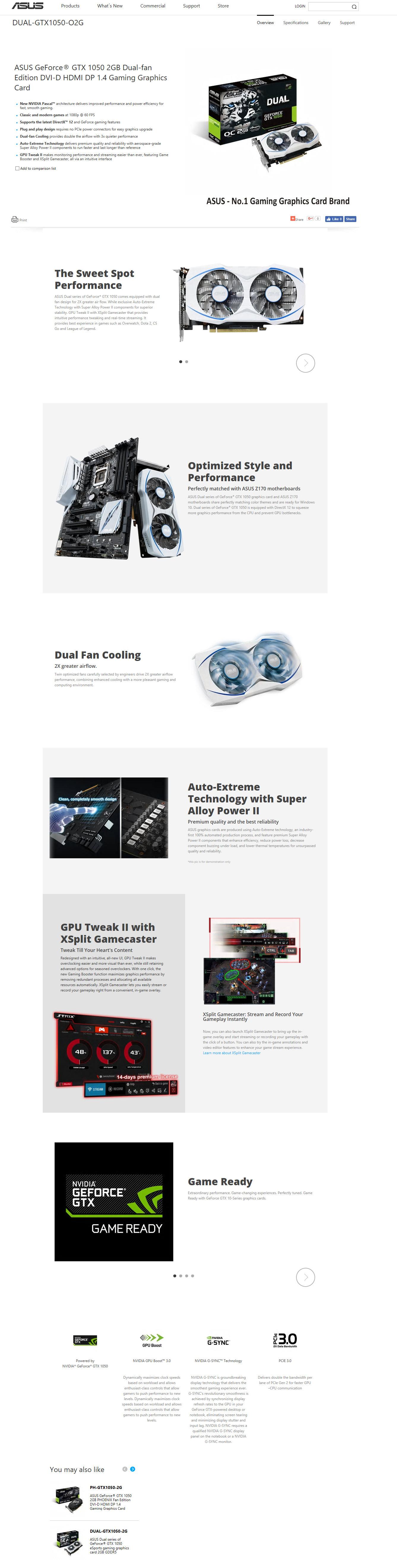 spec ASUS GeForce GTX 1050 2GB Dual fan Edition Review