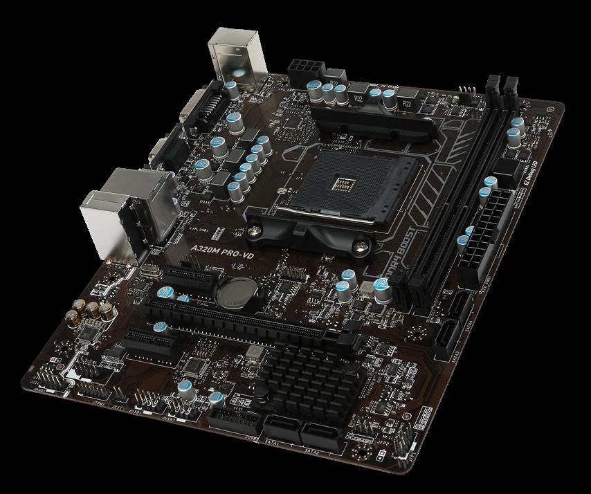 a320 pro vd motherboard resized4 AMD โชว์เครื่องพีซี และ AM4 ที่ใช้โปรเซสเซอร์ Ryzen™ ทรงประสิทธิภาพ