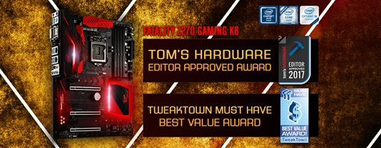 asrock z270 gaming k6 tweaktown must have ASRock Fatal1ty Z270 Gaming K6 คว้ารางวัล MUST HAVE Best Value Award จาก TweakTown